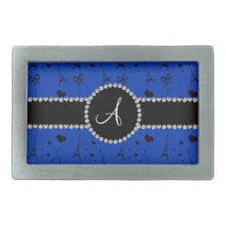 Monogram blue eiffel tower pattern rectangular belt buckles