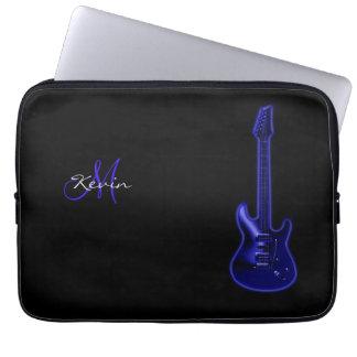 "Monogram Blue Electric Guitar 13"" Laptop Sleeve"