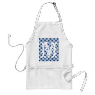 Monogram blue gingham aprons for men and women