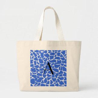 Monogram blue giraffe print tote bag