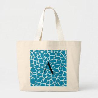 Monogram blue giraffe print canvas bags