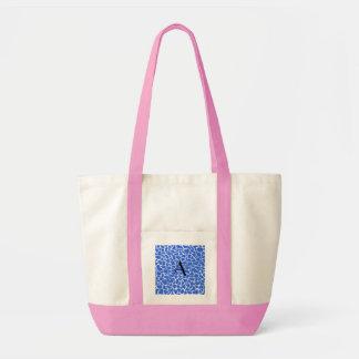 Monogram blue giraffe print bag