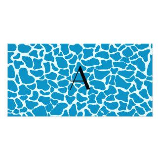 Monogram blue giraffe print picture card