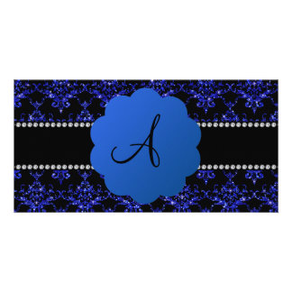 Monogram blue glitter damask photo card