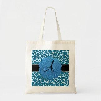 Monogram blue glitter giraffe print bag