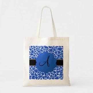 Monogram blue glitter giraffe print canvas bag