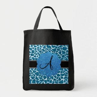 Monogram blue glitter giraffe print canvas bags