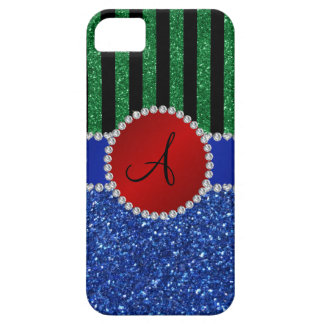 Monogram blue glitter green black stripes iPhone 5 cases