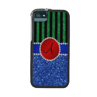 Monogram blue glitter green black stripes iPhone 5 case