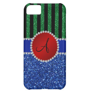 Monogram blue glitter green black stripes iPhone 5C cases