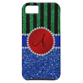 Monogram blue glitter green black stripes iPhone 5 cover
