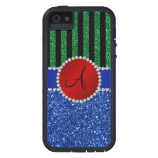 Monogram blue glitter green black stripes case for iPhone 5
