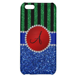 Monogram blue glitter green black stripes iPhone 5C covers