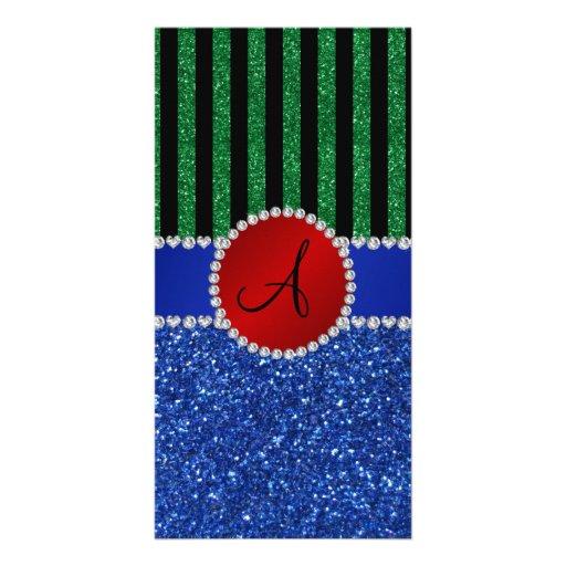 Monogram blue glitter green black stripes photo card