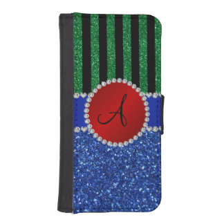 Monogram blue glitter green black stripes phone wallets