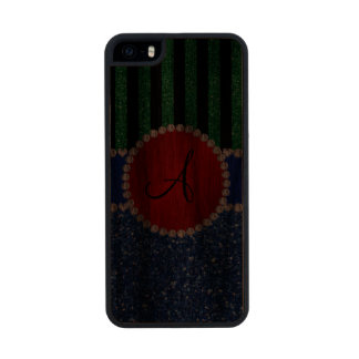 Monogram blue glitter green black stripes carved® walnut iPhone 5 slim case