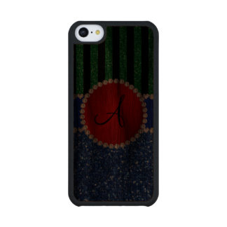 Monogram blue glitter green black stripes carved® walnut iPhone 5C slim case