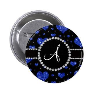 Monogram blue glitter hearts black diamonds circle button