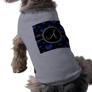 Monogram blue glitter hearts black diamonds circle dog clothes