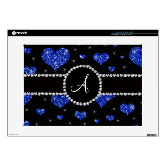 Monogram blue glitter hearts black diamonds circle laptop decals