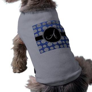 Monogram blue glitter volleyballs black circle dog clothing