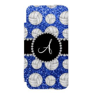 Monogram blue glitter volleyballs black circle iPhone SE/5/5s wallet case
