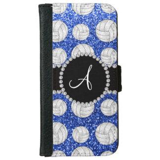 Monogram blue glitter volleyballs black circle iPhone 6 wallet case