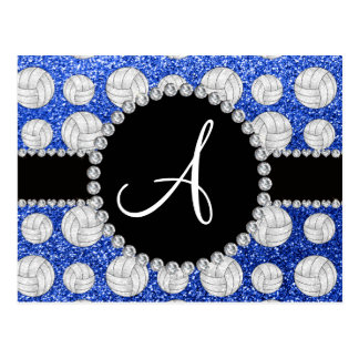 Monogram blue glitter volleyballs black circle postcards