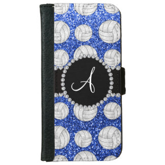 Monogram blue glitter volleyballs black circle wallet phone case for iPhone 6/6s