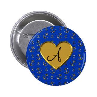 Monogram blue gold anchors 2 inch round button