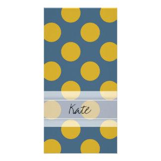 Monogram Blue Gold Cute Chic Polka Dot Pattern Card