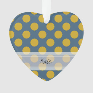 Monogram Blue Gold Cute Chic Polka Dot Pattern Ornament