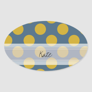 Monogram Blue Gold Cute Chic Polka Dot Pattern Oval Sticker