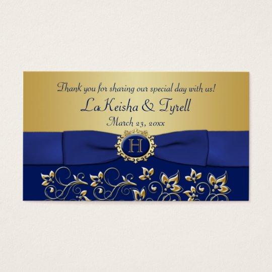 Monogram Blue Gold Floral Favor Thank You Tag