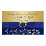 Monogram Blue Gold Floral Favor Thank You Tag Business Card
