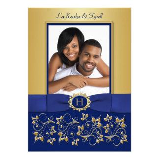 Monogram Blue Gold Floral Photo Wedding Invite