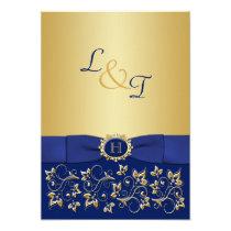 Monogram Blue, Gold Floral Scroll Wedding Invite