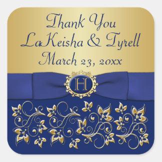 Monogram Blue, Gold Floral Wedding Favor Sticker