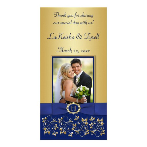 Monogram Blue, Gold Floral Wedding Photo Card