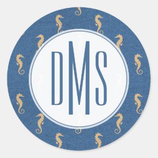 Monogram   Blue & Gold Seahorses Classic Round Sticker