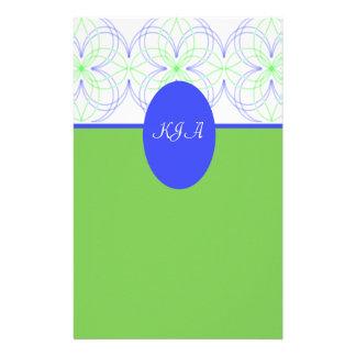 Monogram Blue & Green Circle Pattern Customized Stationery