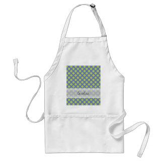 Monogram Blue Green Cute Chic Polka Dot Pattern Adult Apron