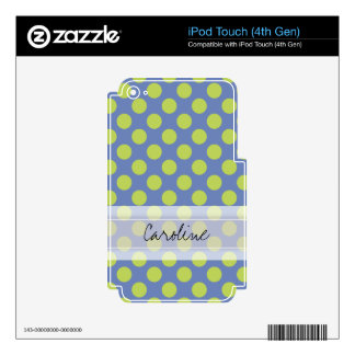 Monogram Blue Green Cute Chic Polka Dot Pattern iPod Touch 4G Skins