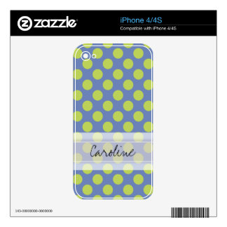 Monogram Blue Green Cute Chic Polka Dot Pattern Skins For iPhone 4S