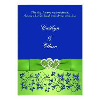 Monogram Blue, Green Floral, Hearts Wedding Invite