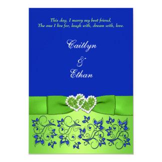 "Monogram Blue, Green Floral, Hearts Wedding Invite 5"" X 7"" Invitation Card"