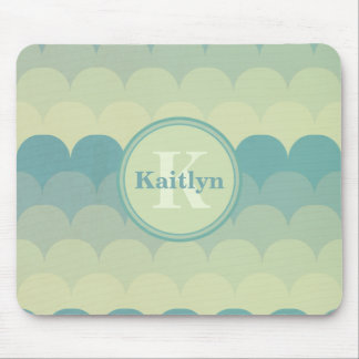Monogram Blue Green Wave Pattern Mouse Pad