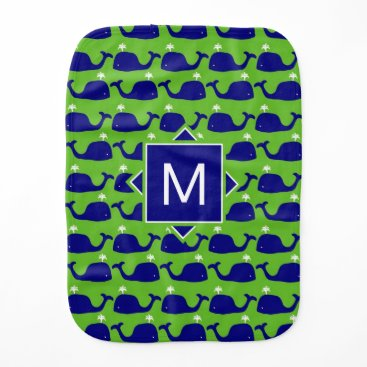 Beach Themed Monogram | Blue & Green Whales Baby Burp Cloth
