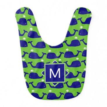 Beach Themed Monogram | Blue & Green Whales Bib