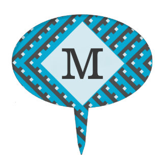 Monogram Blue Grid Customizable Cake Topper